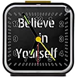 "Inspirational - Believe in Yourself Meaningful Quotes Decor With Sayingses Black Square Alarm Clock 3.27""(H) x 3.07""(W) x 1.65""(D)"