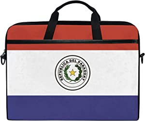 Ainans Paraguay Flag 15 inch Laptop Case Shoulder Bag Crossbody Briefcase Messenger Sleeve for Women Men Girls Boys