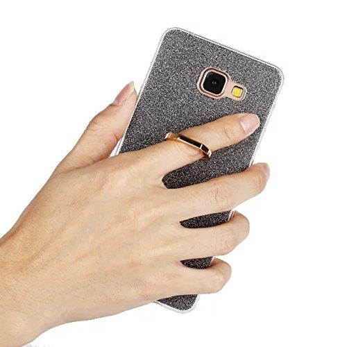Luxus-Bling-Schein-Art-Fall, weiches TPU [Silikon] Flexible Glitter-rückseitige Abdeckung mit Fingerring-Standplatz [Anti-Kratzer] [Shockproof] für Samsung-Galaxie A710 (A7 2016) ( Color : White ) Black