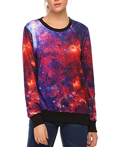 ACEVOG Womens Long Sleeve Pullover Hooded Cute 3D Galaxy Printing Sweatshirts Casual Loose Hoodie Tunic Top