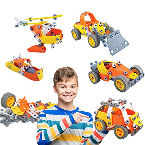 AMOSTING Engineering Toys STEM Construction Building Blocks Set Educational Learning Kit for Kids – 148pcs