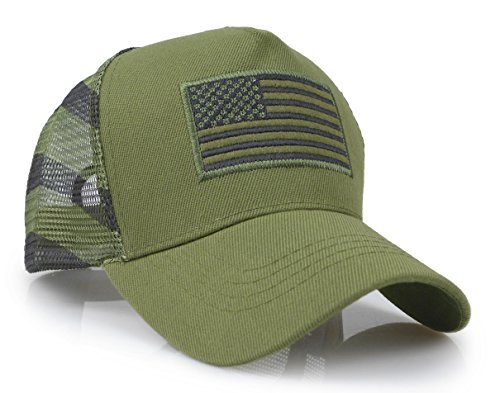 - USA American Flag Embroidered Stars and Stripes Tactical Mesh Trucker Baseball Snapback Cap Hat (Army Green)