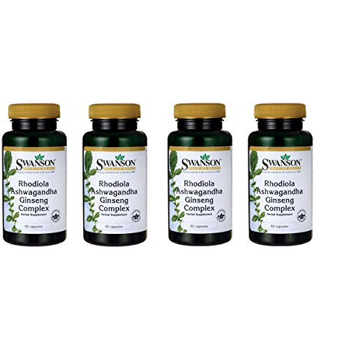 Swanson Rhodiola Ashwagandha Ginseng Complex Mood Energy Immune Function Nervous System Stress Support Adaptogen Herb Supplement 60 Capsules 4 Pack