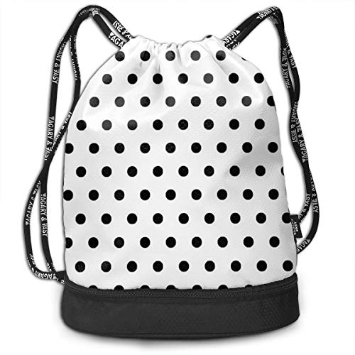 - Sport Unisex Bundle Drawstring Backpack Classic Black White Polka Dot Travel Durable Large Space Gym Sack Unique Waterproof Multifunction Drawstring Bag