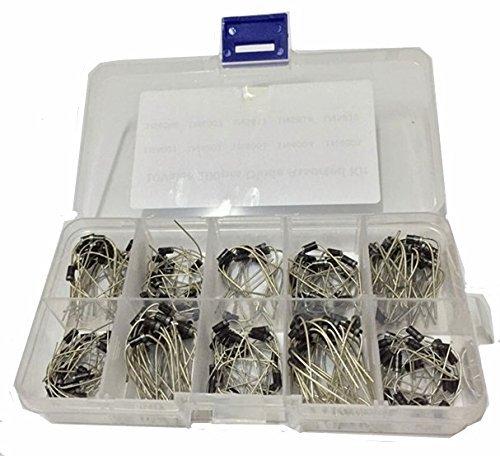 Diode Assorted Kit Set Plastic Box 1N4001 1N4002 1N4003 1N4004 1N4005 1N4006 1N4007 1N5817 1N5818 1N5819 WINGONEER 200PCS 10Value