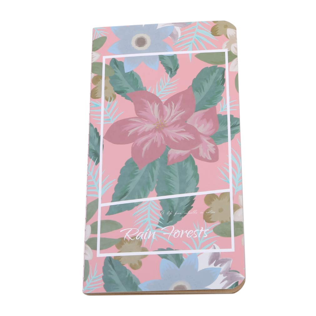 DearAnswer Vintage Line Notebook Charm Flower Pattern Notepad Kraft Paper Daily Planner Travel Diary Book,Pink