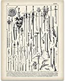 Vintage French Weapons Illustration - 11x14 Unframed Art Print - Great Gift Under $15 for History and Weaponry Buffs