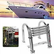 JIAYING Boat Ladder Telescopic Ladder Collapsible Boat Ladder 4 Step Stainless Steel Material with Armrests Us