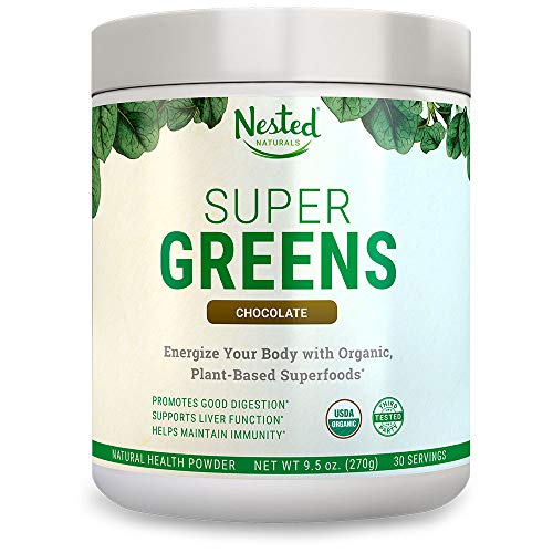 SUPER GREENS | #1 Green Veggie Superfood Powder | Chocolate Flavour | 30 Servings | 20+ Whole Foods (Wheat Grass, Spirulina, Chlorella, Barley), Probiotics, Fiber, Enzymes | 100% USDA Organic ()
