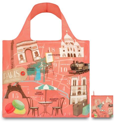 Paris Shoe Size - LOQI Urban Paris Reusable Shopping Bag, Multicolored