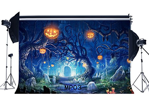 Gladbuy Halloween Horror Night Backdrop 7X5FT Vinyl Haunted Castle Backdrops Scary Pumpkin Lamps Tombstone Photography Background for Kids Adults Masquerade Hallowmas Photo Studio Props MP03 -