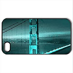 Golden Gate Blue SanFrancisco - Case Cover for iPhone 4 and 4s (Bridges Series, Watercolor style, Black) by icecream design