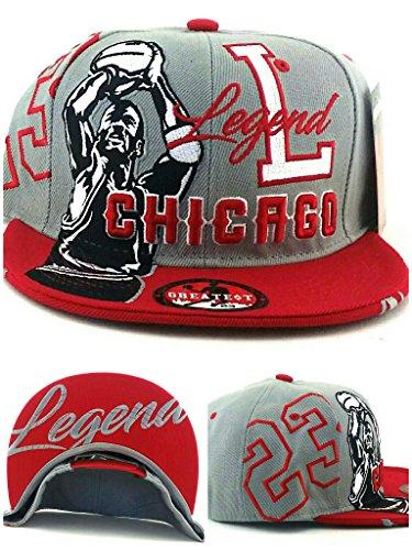 Chicago New Legend Greatest 23 MJ Jordan Bulls Gray Red Era Snapback Hat (Red Bull New Era)