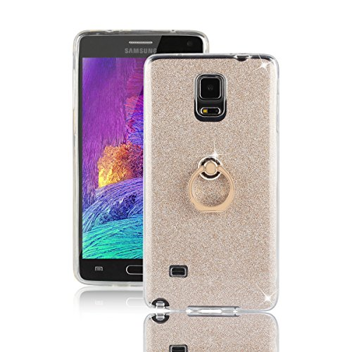 Price comparison product image Galaxy Note 4 Case,  Galaxy Note 4 Ring Case,  DAMONDY 2 In 1 Bling Ultra Thin TPU Soft Glitter Paper Back Cover with Ring Holder Kickstand Case for Samsung Galaxy Note 4 -gold