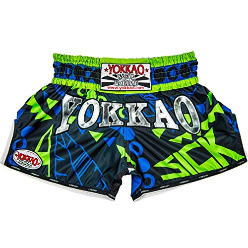Yokkao Sick Blue Green Muay Thai Shorts Kickboxing Martial Arts MMA Fighters Size XL