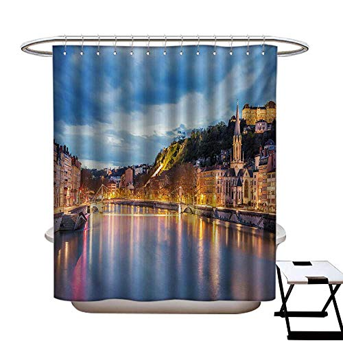 European Shower Curtains Waterproof View of Saone River in Lyon City at Evening France Blue Hour Historic Buildings Fabric Bathroom Decor Set with Hooks W69 x L75 Multicolor -