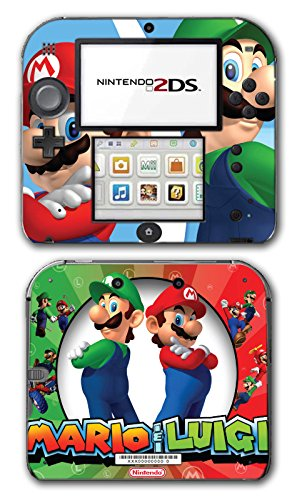 Mario and Luigi Bros Super Hero Golf Kart Smash Video Game Vinyl Decal Skin Sticker Cover for Nintendo 2DS System Console (Xbox Game Super Smash Brothers)