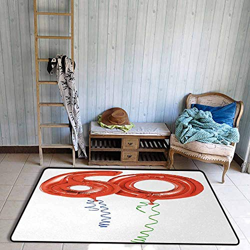 Entry Rug, Desk Chair Mat for Carpet, Sixty Years Old Party Theme Balloons with Curly Rope Ending Image, Door Rug for Internal Anti-Slip Rug, 67