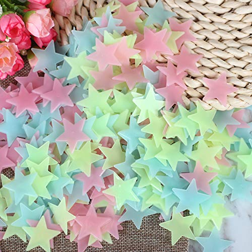 Singeek 100Pcs/Pack Stars Glow in the Dark Luminous Fluorescent Plastic Wall Stickers ()