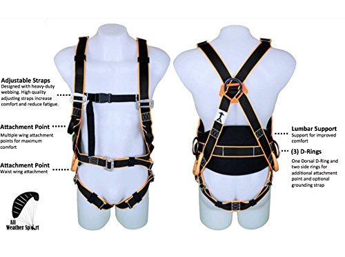 Premium Kiting Harness for Ground Handling - Perfect for Paragliding, PPG, Powered Paragliding, Paramotoring, Paraglider, Paramotor, Kiteboarding, Kiting, and Training Harness - Lumbar Support