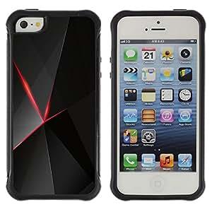 Suave TPU Caso Carcasa de Caucho Funda para Apple Iphone 5 / 5S / Red & Black Polygon Pattern / STRONG