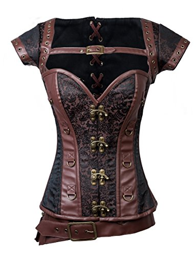 Charmian Women's Steampunk Jacquard Steel Boned Busk Corset with Jacket and Belt Heavy-Strong-Steel-Belt-Brown XX-Large -
