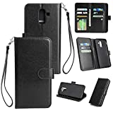 Shinyzone Samsung Galaxy A6 Plus 2018 Wallet Case with 9 Card Slots,Luxury Premium Synthetic Leather Book Style Stand Cover with Wrist Strap and Magnetic Closure Pretective Cover-Black