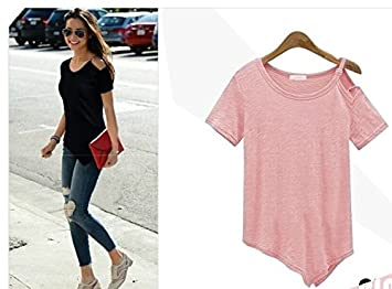 Amazon.com : New Solid camisetas Summer Cotton t-shirts Fashion Tops 2016 Punk Rock tee shirt femme Off the Shoulder Strap T Shirt Women C487 Color:Pink ...