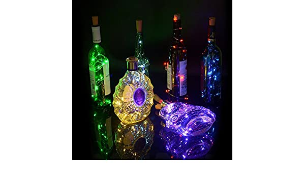 Juego de 3 botellas de vino blanco cálido Cork Lights - 40 inch / 100cm 20 LED de cobre Wire Lights luces estrelladas de cadena LED para la botella DIY, ...
