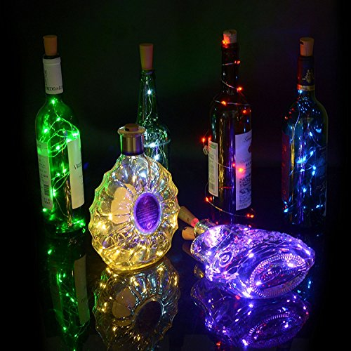 Wine Bottles String Lights GardenDecor 3 Packs Micro Artificial Cork Copper Wire Starry Fairy Lights, Battery Operated Lights for Bedroom, Parties, Wedding, Decoration(100cm/40in Red) -