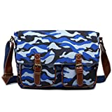 Miss Lulu Canvas Prints Large Satchel Messenger Shoulder Bag (Camouflage Blue)