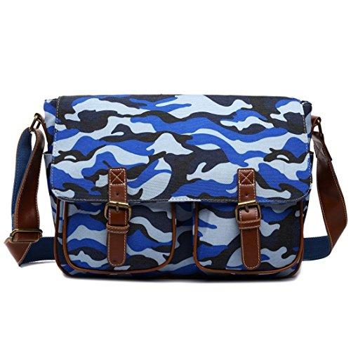 Miss Lulu Canvas Prints Large Satchel Messenger Shoulder Bag (Camouflage Blue)