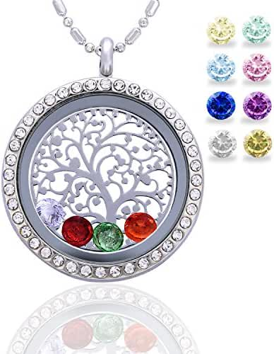 Feilaiger 30mm Round Magnetic Closure Floating Living Memory Lockets Pendant Necklace,All Charms Include