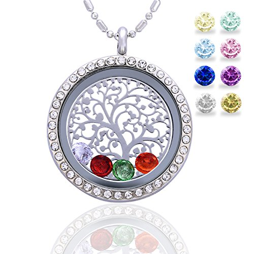 Family Tree of Life Birthstone Necklace Jewelry - Gifts for Mom Floating Charm Living Memory Lockets Pendant
