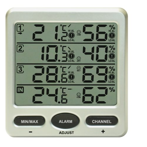 funk thermometer froggit ft0073 mit 3 aussensensoren luftfeuchte lcd display min max mwd. Black Bedroom Furniture Sets. Home Design Ideas