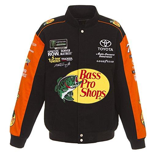 J.H. Design 2018 NASCAR Jacket Martin Truex Jr. Bass Pro Black Twill Jacket Size XLarge