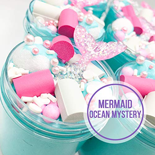 GoodGoodStudy--2019 Newest Mermaid Ocean Mystery Butter Slime, Non-Sticky Floam Slime Stress Relief Toy Scented DIY Putty Sludge Toy for Girls and Boys 7oz