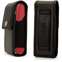 iGadgitz Black Genuine Leather Pouch Case Cover for Swiss Army Knives (Compatible with Victorinox)