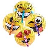 Emoji Birthday Party Ideas Neliblu 1 Dozen Emoticon Folding Fans - Emoji Party Supplies - Party Favors - Fans - Goody Bag Fillers