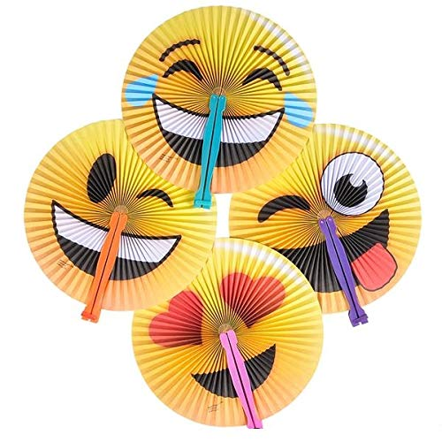 Neliblu 1 Dozen Emoticon Folding Fans - Emoji Party Supplies - Party Favors - Fans - Goody Bag Fillers -