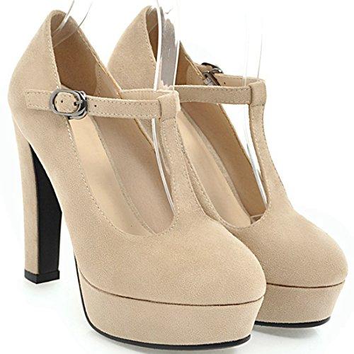 gruesos para Zapatos de de mujer con en forma T Plataforma cerrada tacón de punta alto correa Beige YE ZFfyIqvy