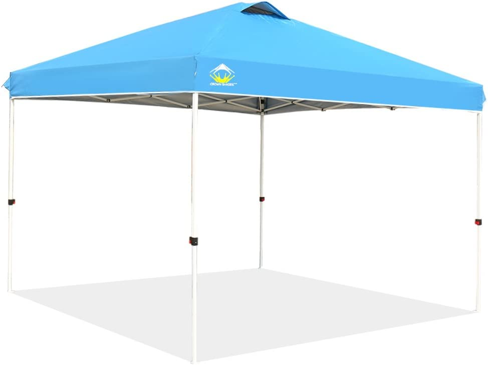 CROWN SHADES 10ft x 10ft Outdoor Pop up Portable Shade Instant Folding Canopy with Carry Bag, Sky
