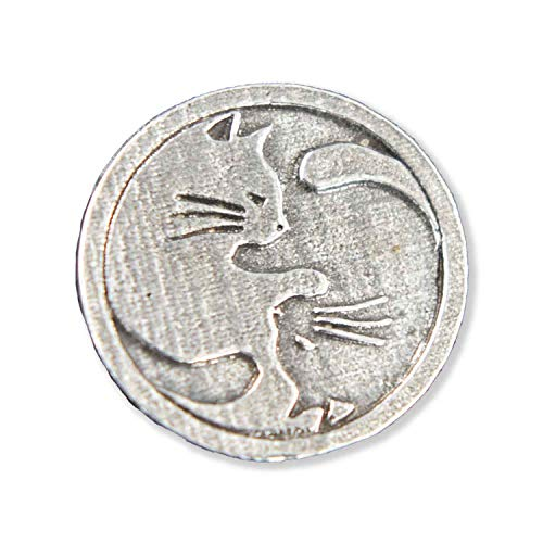 Yin Yang Cats Pet Pewter Lapel Pin, Brooch, Jewelry, G061