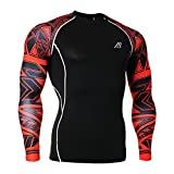 Men Long Sleeve Compression T-Shirts Base Layers Top Shirt pants 32XL, Red-c