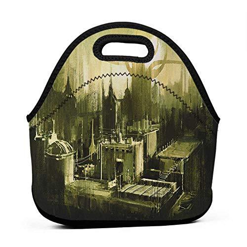 Large Size Reusable Lunch Handbag Gray,Sunset in a Gothic Dark City Scenery Landscape Urban Artwork Image,Black White and Light Green,monogram lunch bag for kids