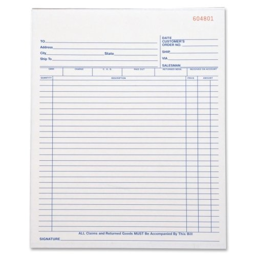 Business Source Carbonless All-Purpose Forms Book - Triplicate - 50 Sheets (39555)