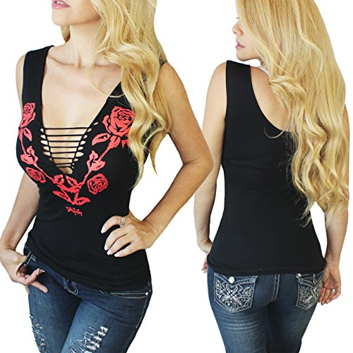 (Demi Loon Sexy Biker Tank Top | Slashed Cut-Out Biker Tee Tshirt | Graphic Punk Gothic Tank Top (Small, Nashville Rose- Black with Red Roses))