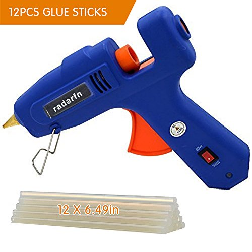 Hot Glue Gun with 12 PCS Glue Gun Sticks Full Size Glue Gun(Not Mini) Tool for DIY Bonding High Temperature Melting Glue Gun 100% Safety(60/100watts Blue ) by radarfn