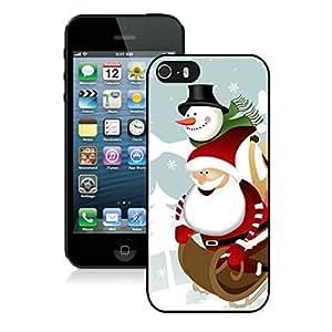 Customized Portfolio Iphone 5S Protective Cover Case Cartoon Santa Claus with Snowman iPhone 5 5S TPU Case 1 Black