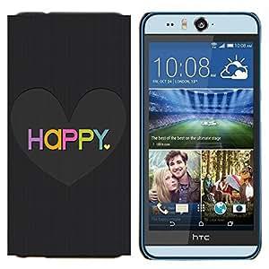 YiPhone /// Prima de resorte delgada de la cubierta del caso de Shell Armor - El amor del Corazón Negro cepillado colorido - HTC Desire Eye M910x